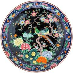 Large Meiji Period Famille Noir Porcelain Dish