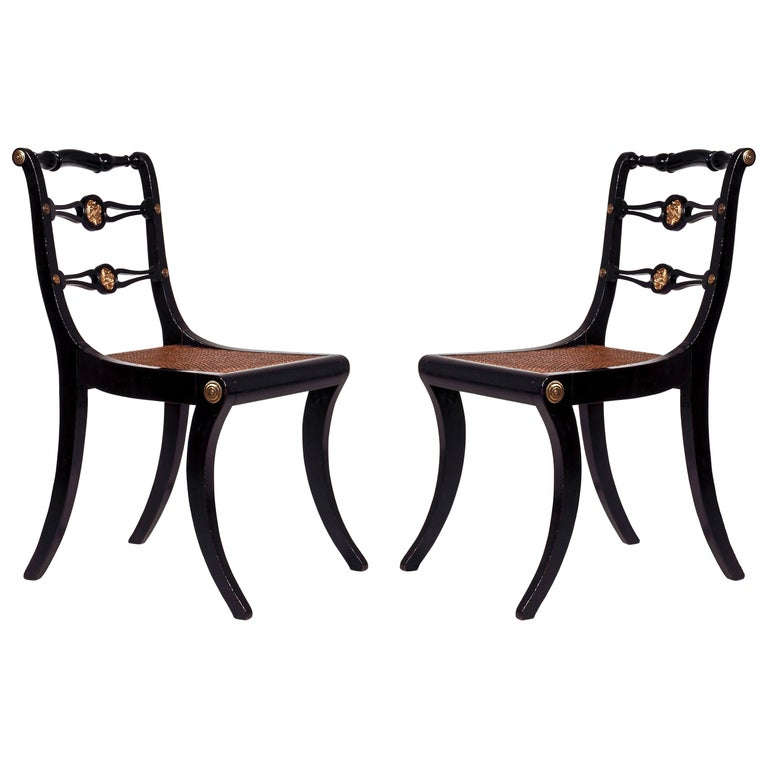 Brass Set of Four Regency Black Lacquer Klismos Chairs, circa 1810 For Sale