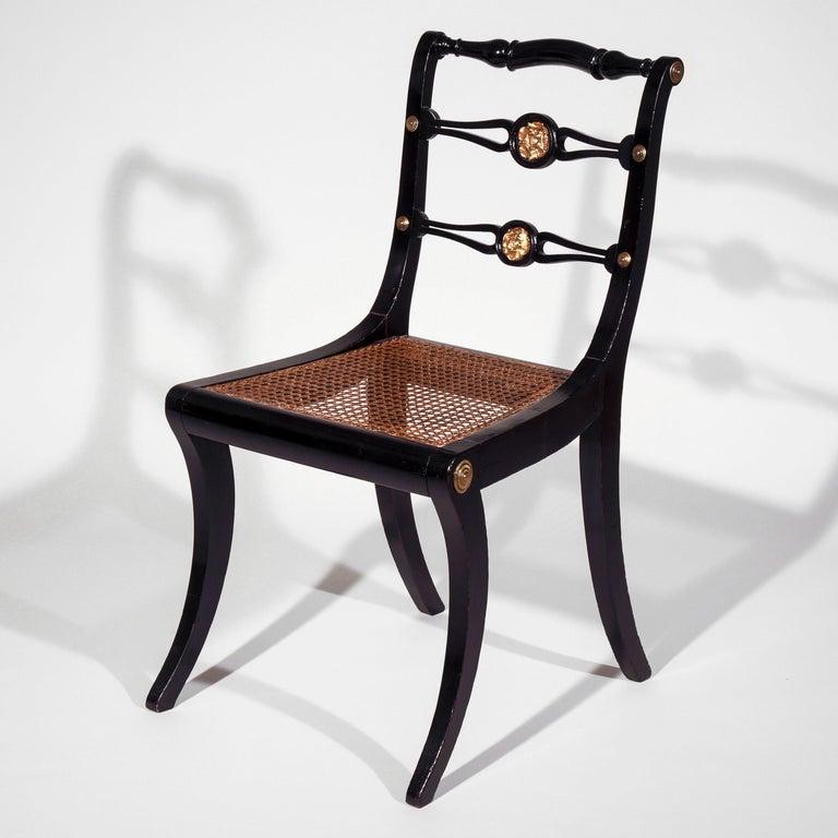 Ebonized Set of Four Regency Black Lacquer Klismos Chairs, circa 1810 For Sale