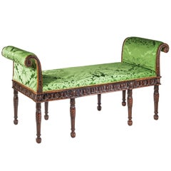 19th Century Neoclassical Bedroom Bench in Apple Green Silk