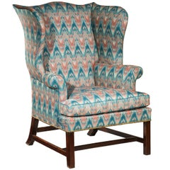 18th Century English Country House Library Flamestitch Wingback Armchair