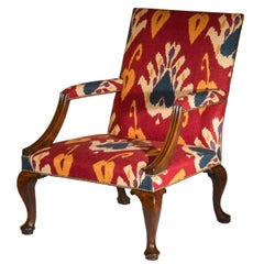 English Early 18th Century Walnut Library Armchair in Red Ikat