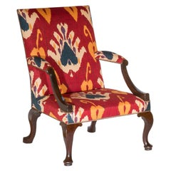 18th Century English Red Walnut Gainsborough Armchair in Ikat