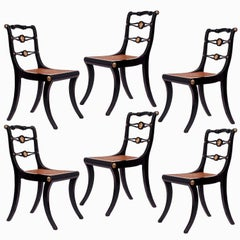 Six Regency Black Painted Klismos Chairs