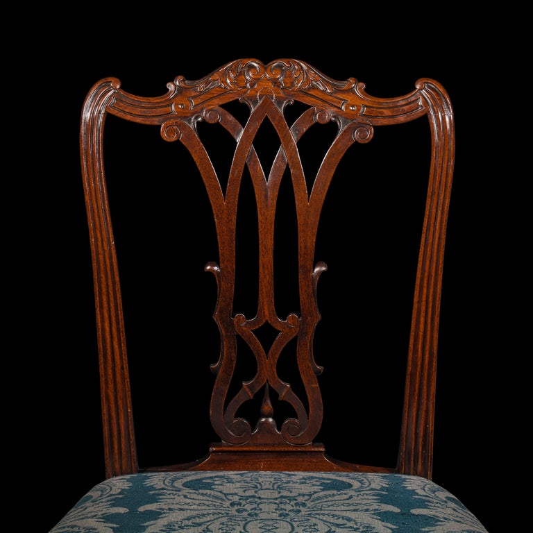 Hand-Carved Georgian Chippendale Bedroom Chair or Side Chair For Sale