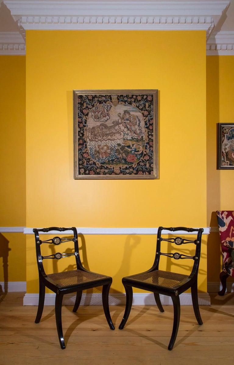 Six Regency Ebonized Klismos Dining Chairs For Sale 3