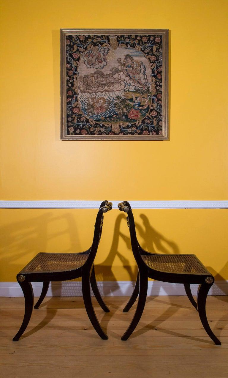 Six Regency Ebonized Klismos Dining Chairs For Sale 7