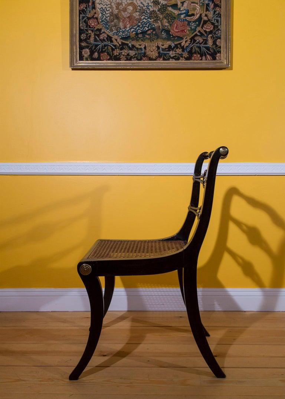 Six Regency Ebonized Klismos Dining Chairs For Sale 10