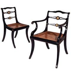 Six Regency Black Painted Klismos Dining Chairs