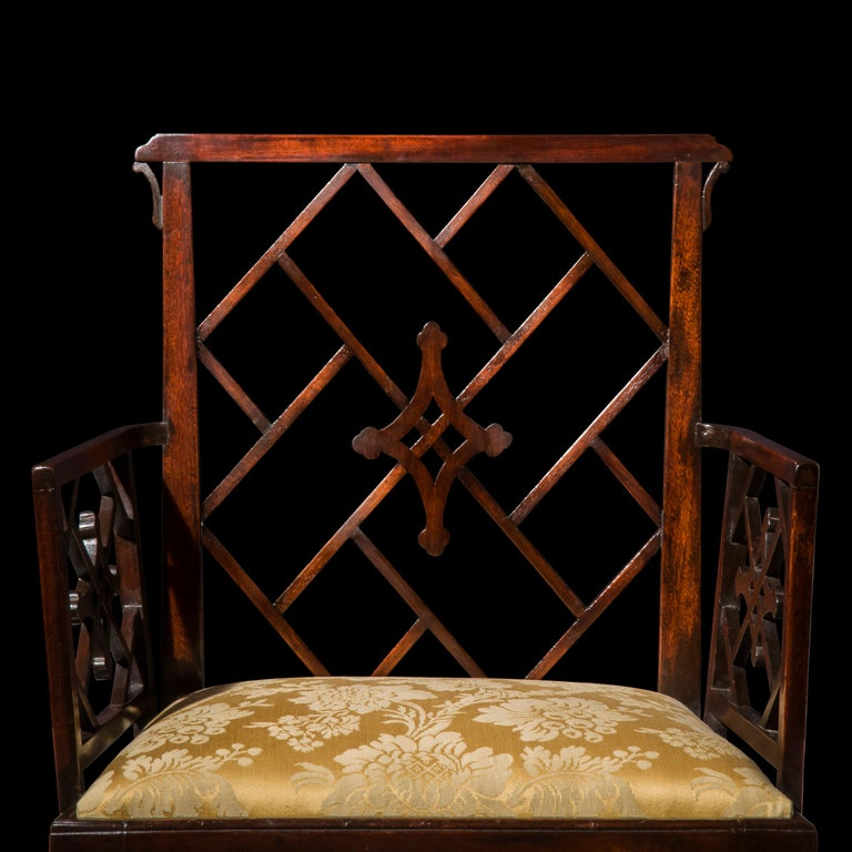 Silk 18th Century Chinese Chippendale Cockpen Armchair Desk Chair For Sale