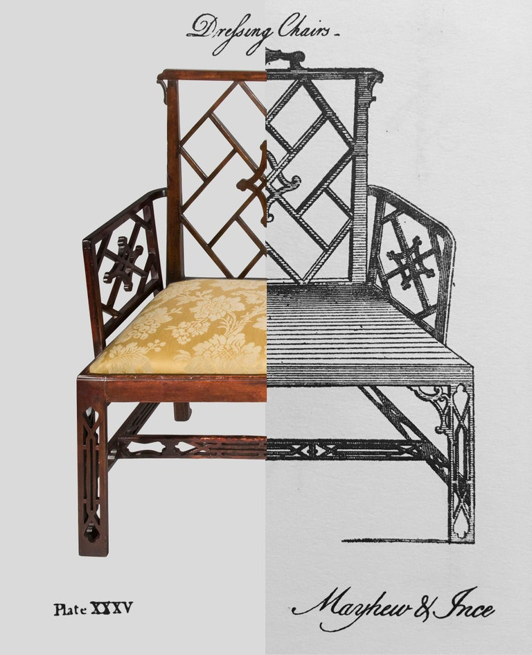 18th Century Chinese Chippendale Cockpen Armchair Desk Chair For Sale 2