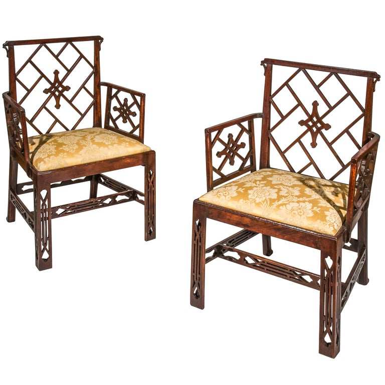 Pair of 18th Century Chinese Chippendale Cockpen Armchairs For Sale 3