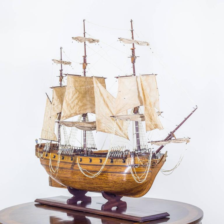 A Fine Early 20th Century Large Antique Ship Model of HMS Pandora, 1779