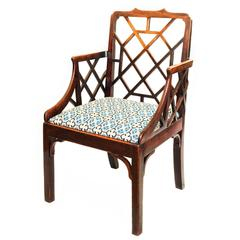 English Mid-18th Century George III Chinese Lattice Back Mahogany Armchair