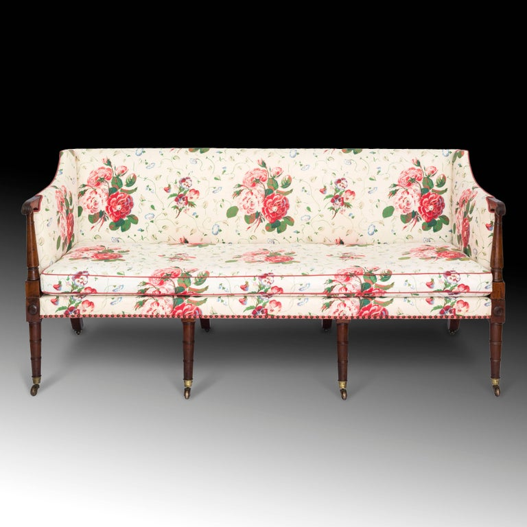 Fine george iii three seater mahogany sofa settee in for Chintz couch