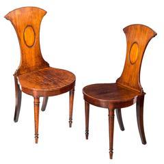 George III Sheraton Period Mahogany Hall Chairs