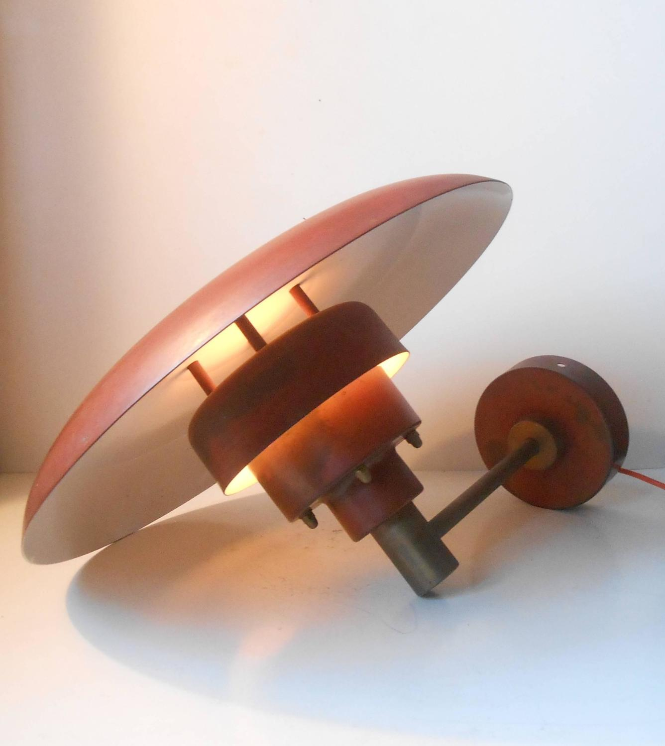 Small White Wall Lights : Very Rare Lyfa Outdoor Wall Light in Red Verdigris Copper in the Manner of PH at 1stdibs