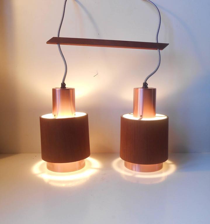 Scandinavian Teak And Ros 233 Copper Pendant Lamp 1960s Mid