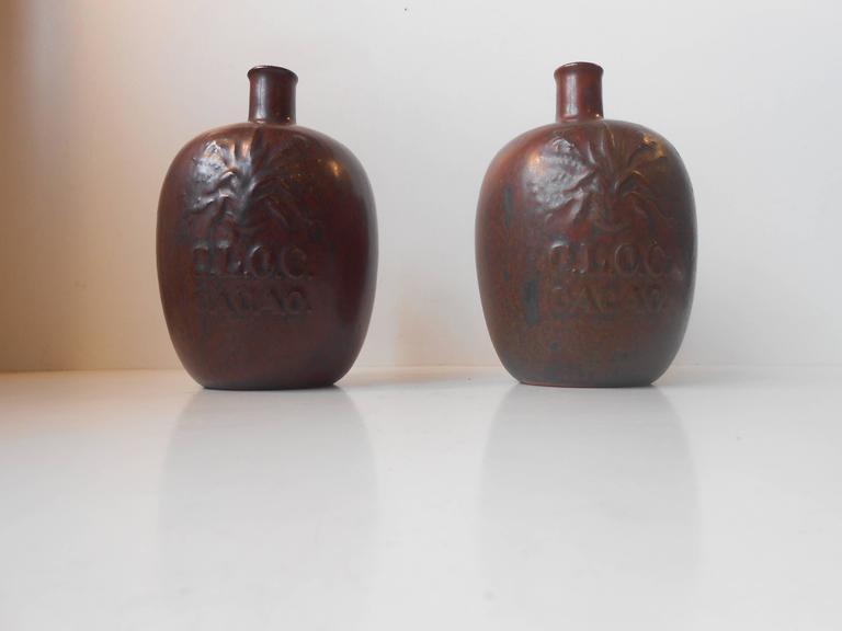 Pair Of Matching 1930s Liquor Bottles Vases By Arne Bang Redbrown