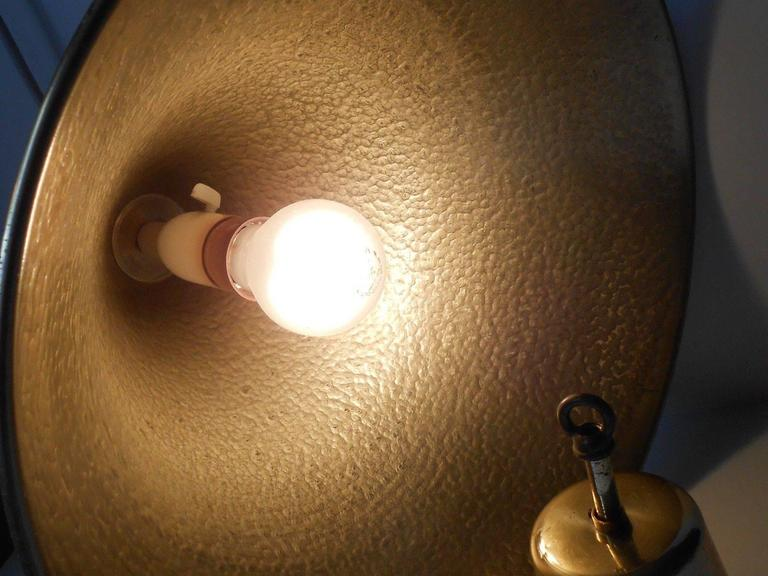 Danish Mid-Century Hammered Brass Hanging Lamp with Matching Canopy, 1960s In Excellent Condition For Sale In Esbjerg, DK