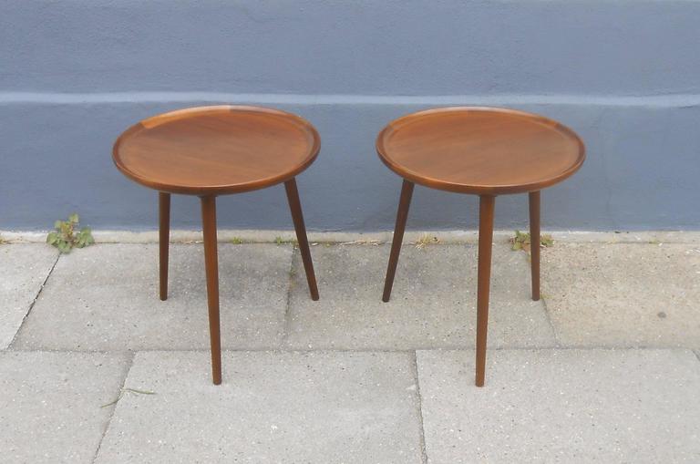 Pair Of Walnut Three Legged Round Side Tables Anton Kildeberg