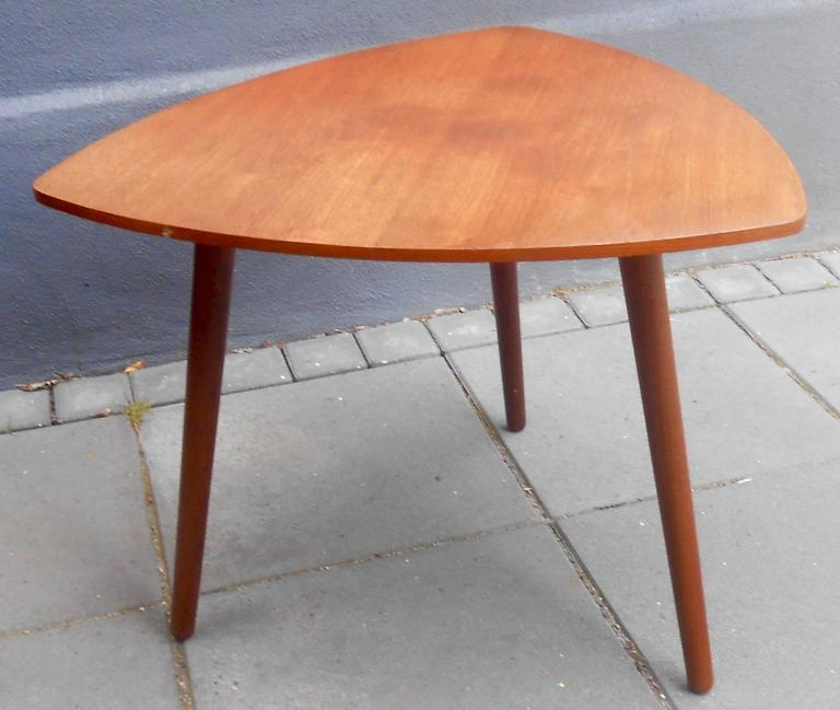 Danish Mid Century Teak Coffee Table 1 Small: Danish Mid-Century Triangular Guitar Pick-Shaped Teak