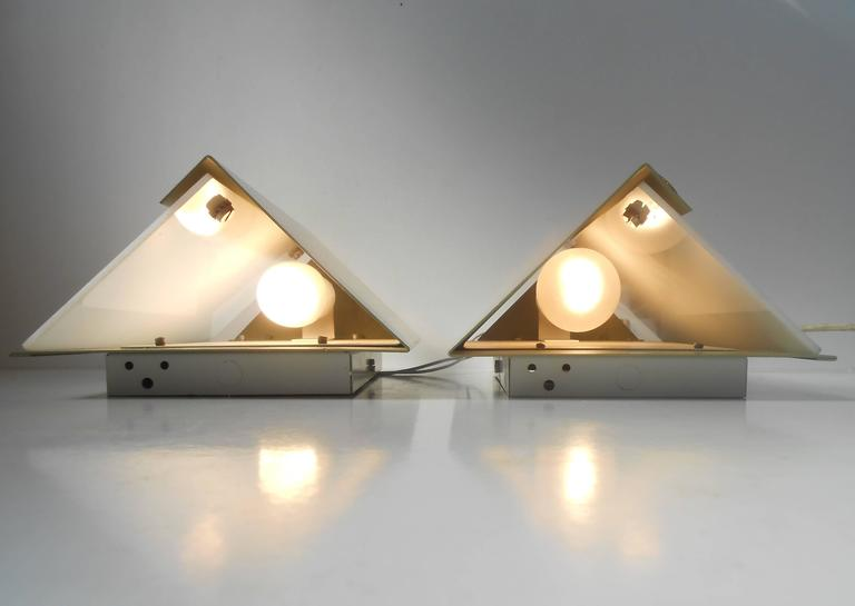 Mid-Century Modern Rare Pair of Modernist Light Green Wall Sconces with 'Jumbo' Brass Screws For Sale