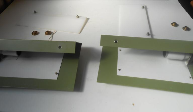 Powder-Coated Rare Pair of Modernist Light Green Wall Sconces with 'Jumbo' Brass Screws For Sale