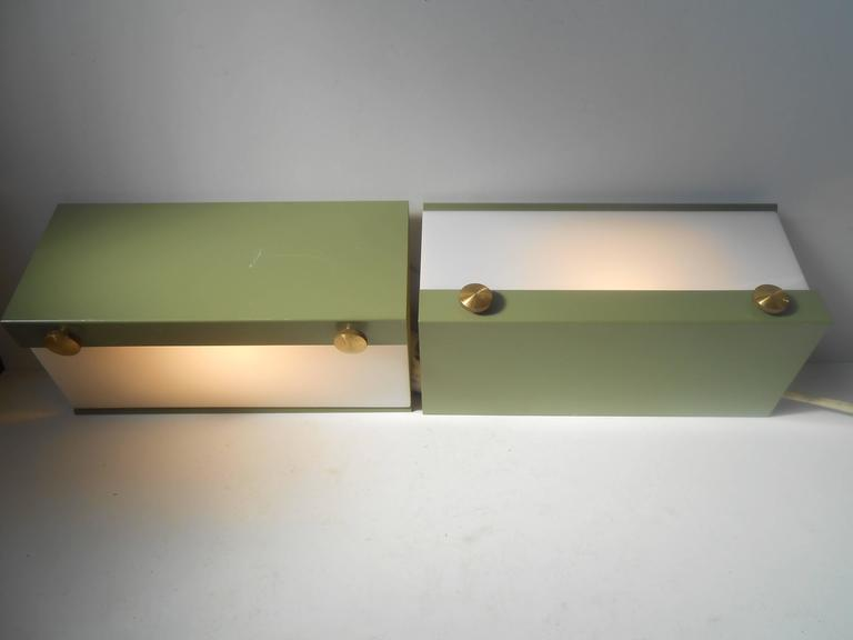 Mid-20th Century Rare Pair of Modernist Light Green Wall Sconces with 'Jumbo' Brass Screws For Sale