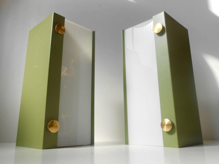 Rare Pair of Modernist Light Green Wall Sconces with 'Jumbo' Brass Screws In Good Condition For Sale In Esbjerg, DK