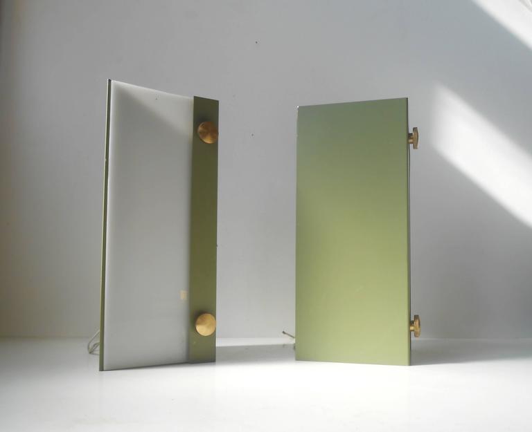 Scandinavian Rare Pair of Modernist Light Green Wall Sconces with 'Jumbo' Brass Screws For Sale