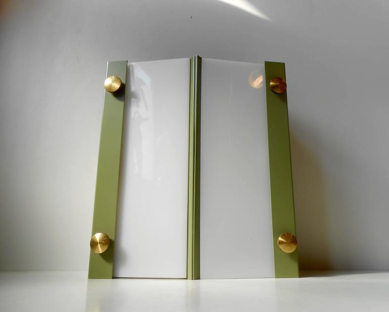 Rare Pair of Modernist Light Green Wall Sconces with 'Jumbo' Brass Screws For Sale 1