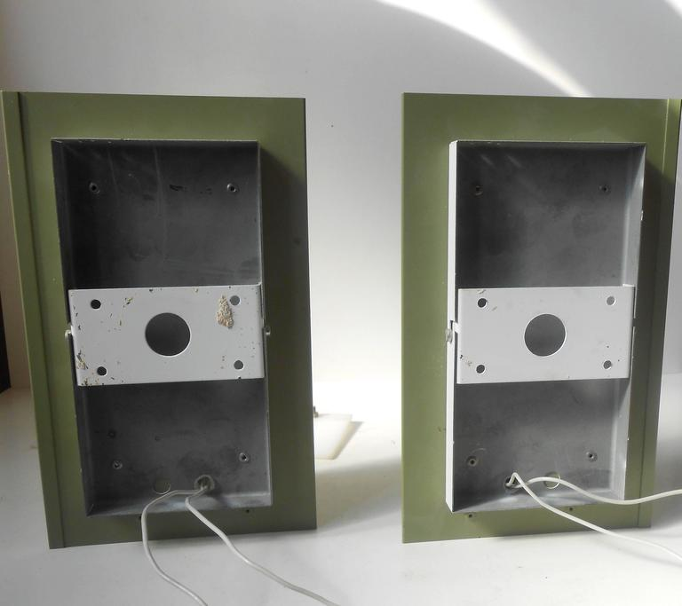 Aluminum Rare Pair of Modernist Light Green Wall Sconces with 'Jumbo' Brass Screws For Sale