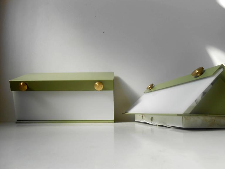 Rare Pair of Modernist Light Green Wall Sconces with 'Jumbo' Brass Screws For Sale 2