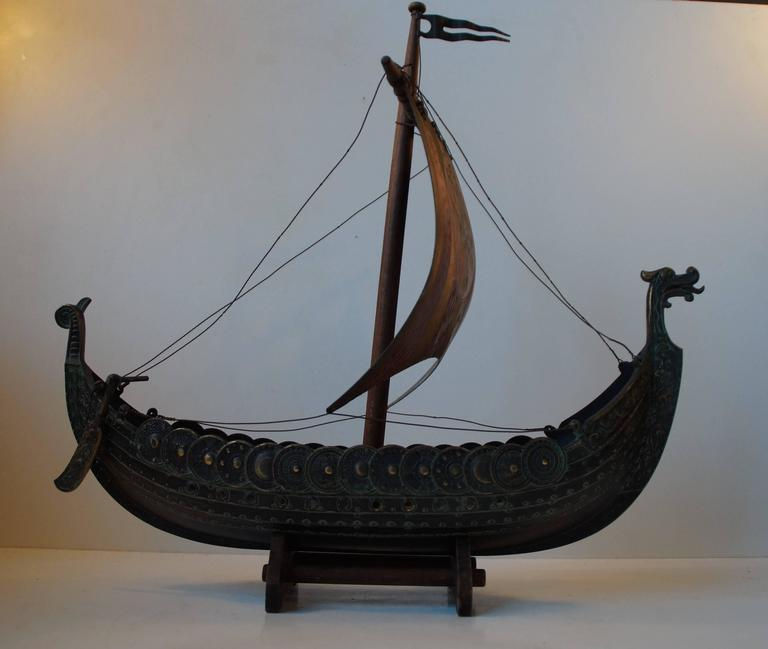 Vintage Handmade Bronze Viking Ship By Edward Aagaard For