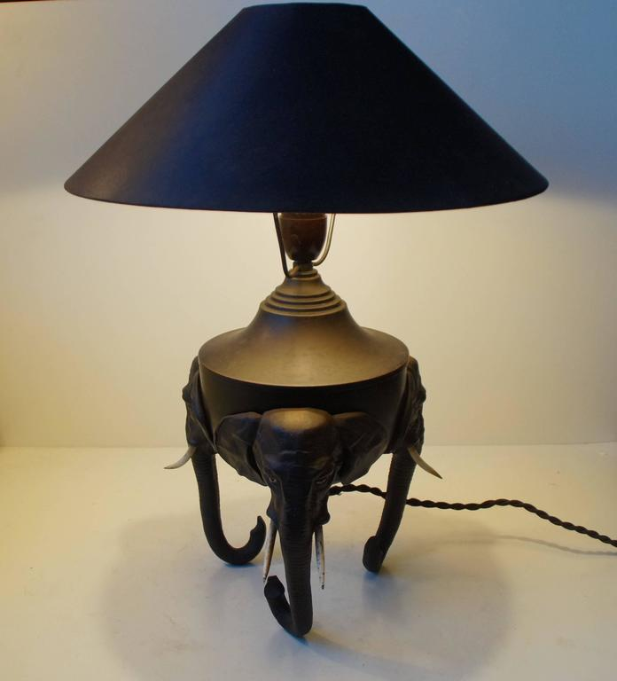 Painted Very Rare German Metal Table Lamp with Black Elephant Tri-Stand Base, circa 1920 For Sale