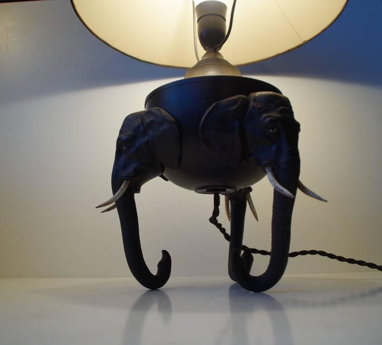 Very Rare German Metal Table Lamp with Black Elephant Tri-Stand Base, circa 1920 For Sale 1