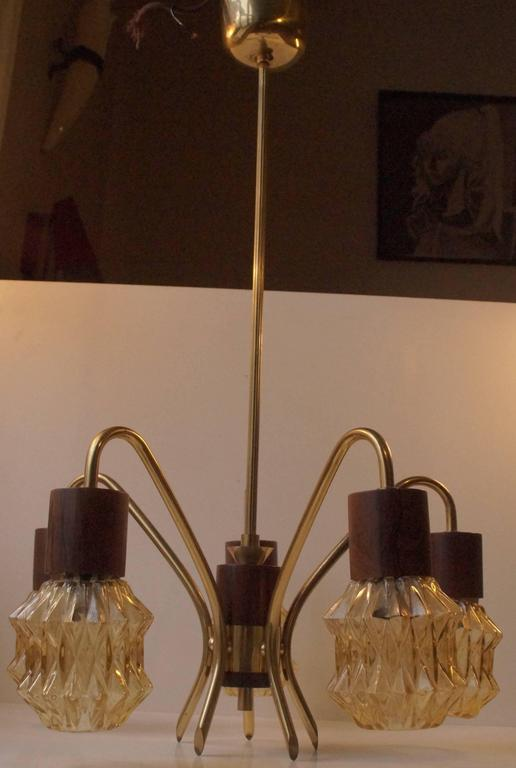 Mid-Century Modern Mid-Century Danish Rosewood, Brass and Glass Spider Chandelier, 1950s For Sale