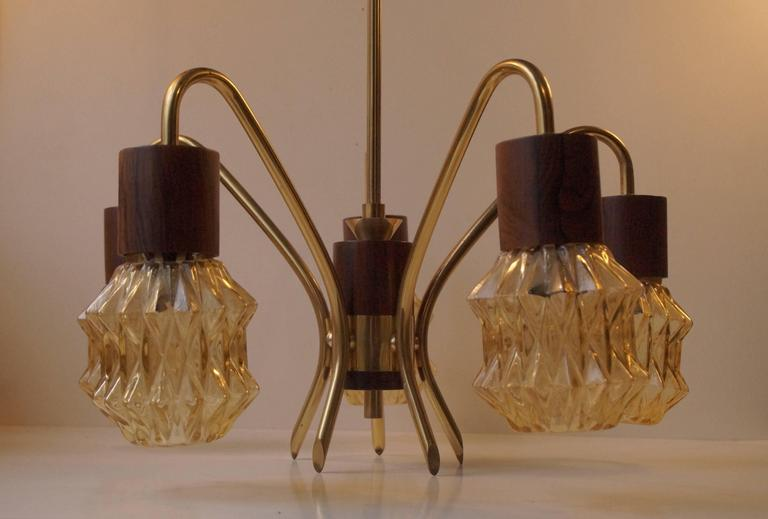 Mid-Century Danish Rosewood, Brass and Glass Spider Chandelier, 1950s For Sale 1