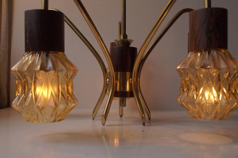 Mid-Century Danish Rosewood, Brass and Glass Spider Chandelier, 1950s For Sale 5