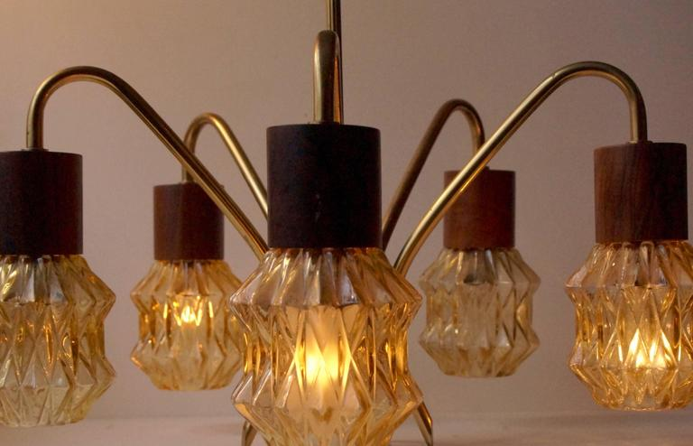 Mid-Century Danish Rosewood, Brass and Glass Spider Chandelier, 1950s For Sale 3