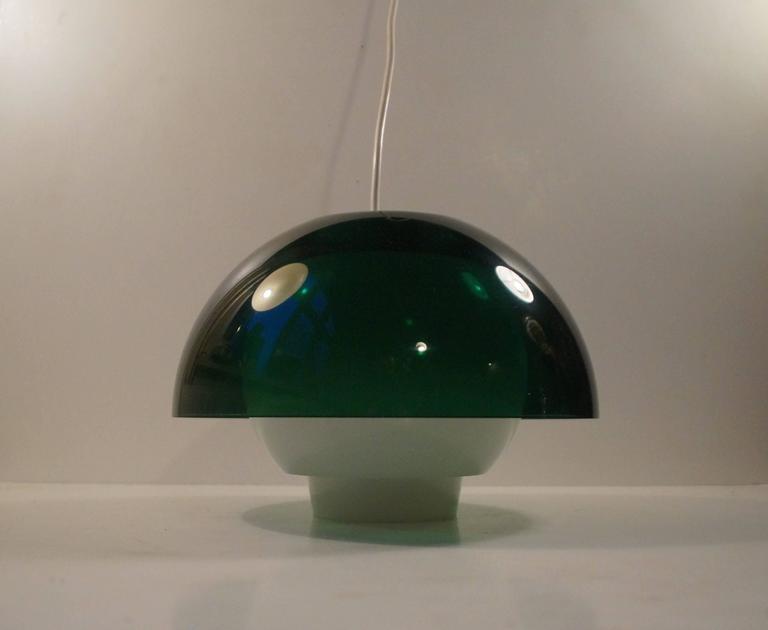 Danish 'Ergo' Green Plexiglass Pendant Lamp by Bent Karlby for A. Schroder Kemi, 1970s For Sale