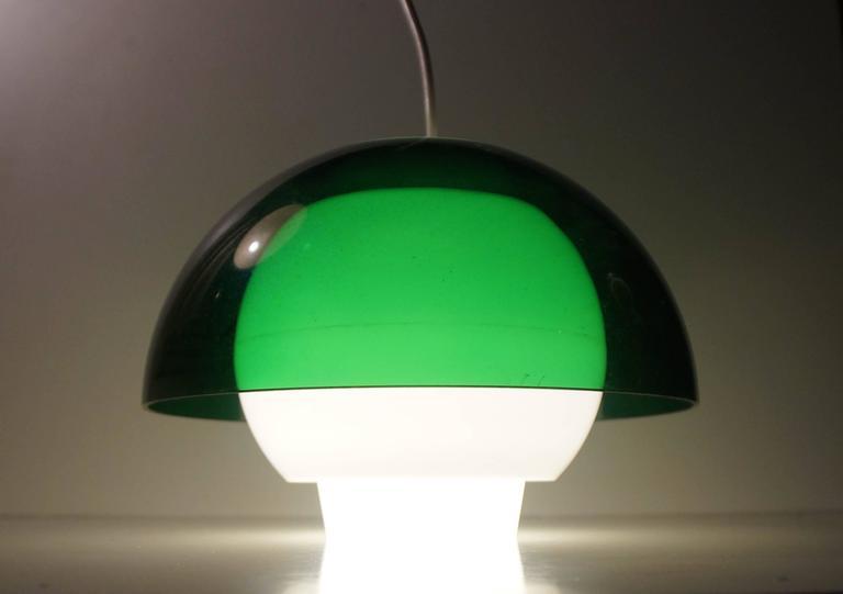 Mid-Century Modern 'Ergo' Green Plexiglass Pendant Lamp by Bent Karlby for A. Schroder Kemi, 1970s For Sale