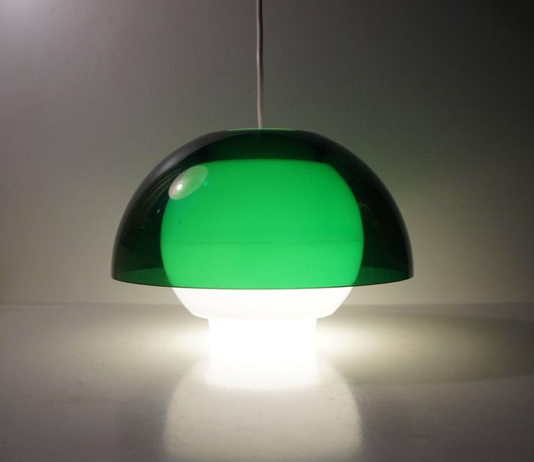 'Ergo' Green Plexiglass Pendant Lamp by Bent Karlby for A. Schroder Kemi, 1970s In Excellent Condition For Sale In Esbjerg, DK