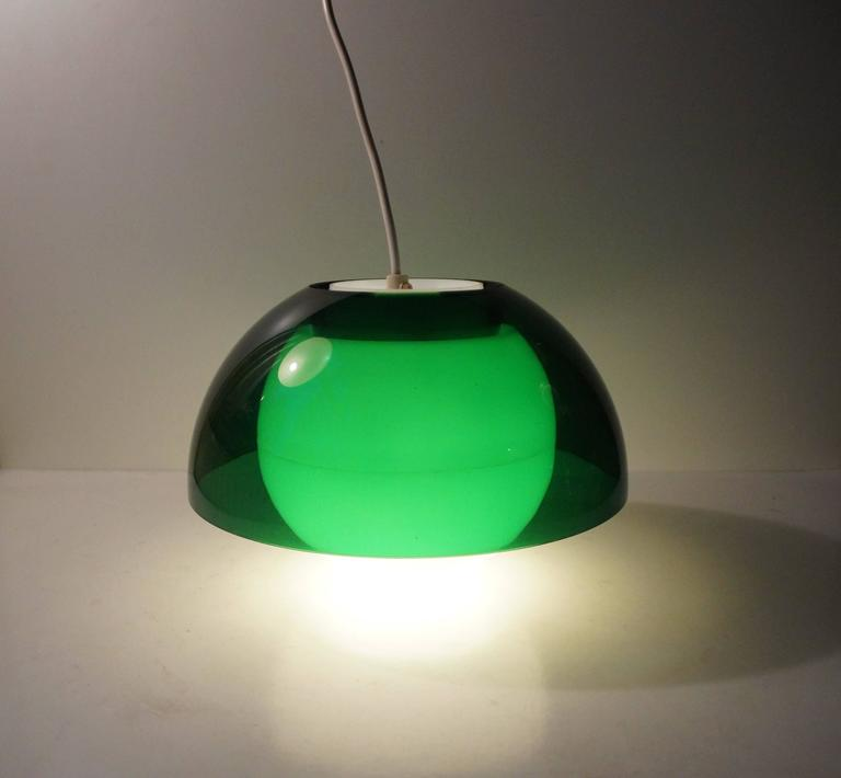 Late 20th Century 'Ergo' Green Plexiglass Pendant Lamp by Bent Karlby for A. Schroder Kemi, 1970s For Sale