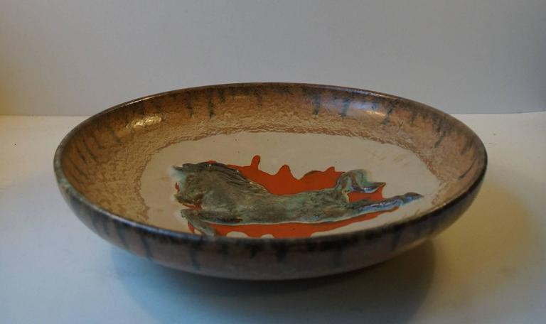 Glazed Unusual Mid-Century Stoneware Centrepiece 'Horse' Bowl by John Anderson Hoganas For Sale