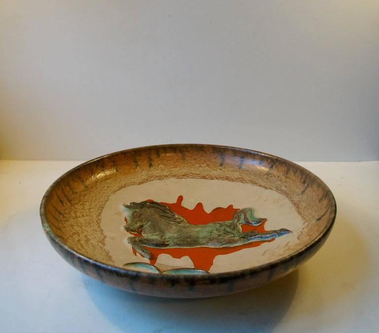 Swedish Unusual Mid-Century Stoneware Centrepiece 'Horse' Bowl by John Anderson Hoganas For Sale