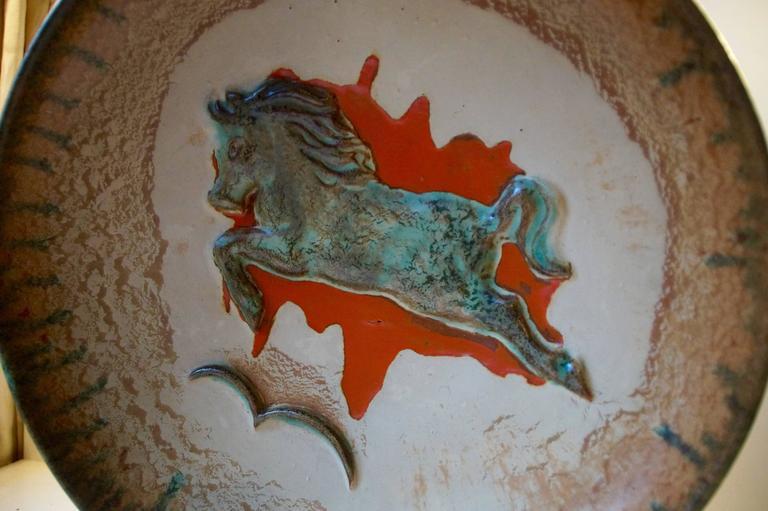 Mid-Century Modern Unusual Mid-Century Stoneware Centrepiece 'Horse' Bowl by John Anderson Hoganas For Sale