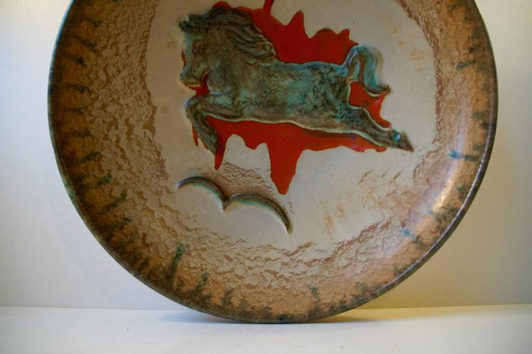 Unusual Mid-Century Stoneware Centrepiece 'Horse' Bowl by John Anderson Hoganas For Sale 2