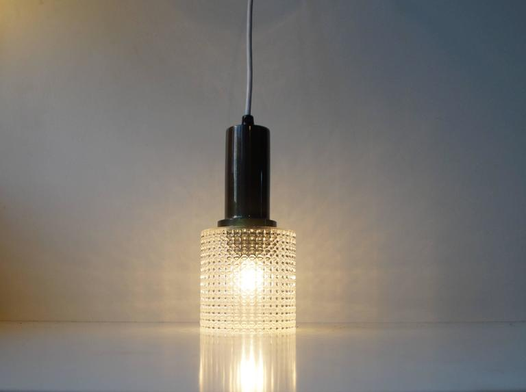 Danish Small Mid-Century Pendant Lamp by Carl Fagerlund for Orrefors Sweden, circa 1960 For Sale